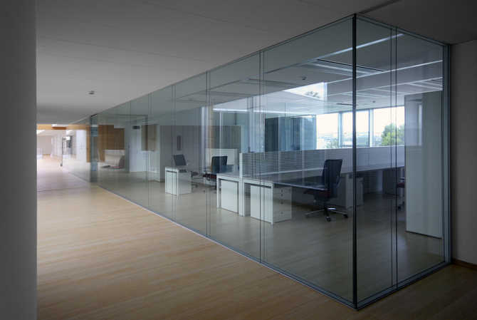 glazed partitions to full height single double glazed glass walls